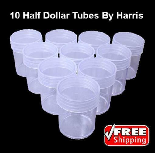 Lot Of 10 Half Dollar Round Coin Tubes Clear Screw Cup By Harris Whitman Free SH