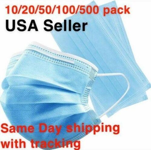USA Seller 50 PCS Face Mask Mouth & Nose Protector Respirator Masks with Filter.