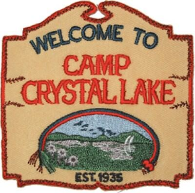 Friday The 13th Movie Camp Crystal Lake Sign Embroidered Patch, NEW UNUSED