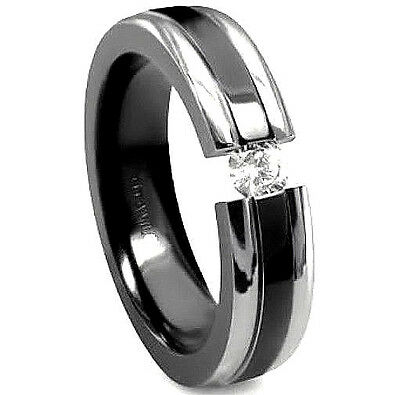 TITANIUM TENSION RING with CZ and Black Plated ACCENT BAND - size 10 Black Titanium Tension Rings