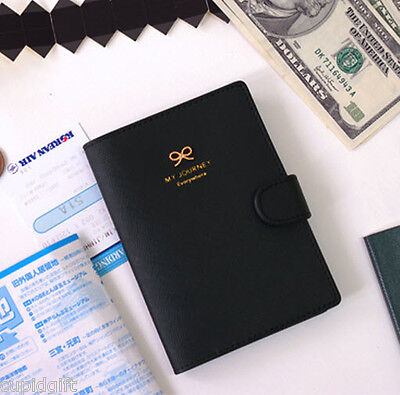 Ribbon Passport Case Cover Ticket Card Holder Travel Mini Wallet Authentic Pouch Black