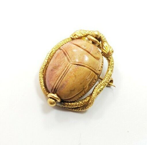 Unique Vintage Art Deco 10k Yellow Gold Carved Scarab Snake Pin Brooch