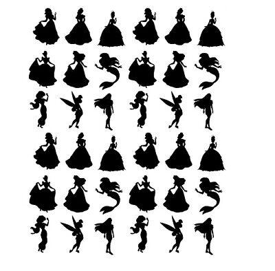 36x Disney Princess Vinyl Decal Silhouette Wine Glass Stickers Mermaid Art Craft