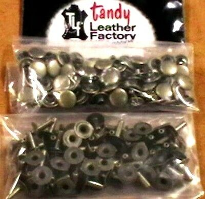 100 Pack of ANTIQUE BRASS Plate MEDIUM RAPID RIVETS 1273-15 Tandy Leather Rivet