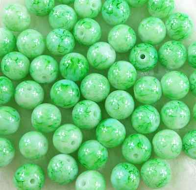 50Pcs 8mm Light Green Glass Pearl Round Spacer Beads W42