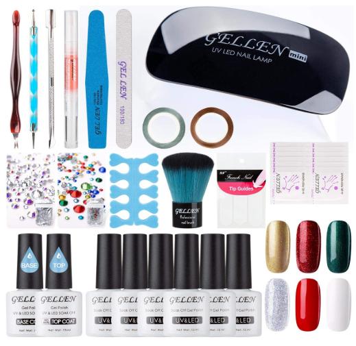 Gellen Nail Starter Kit - 6 Colours Gel Nail Polish Set, Bas
