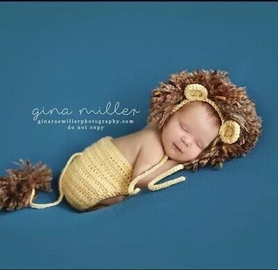 Newborn Baby Lion Crochet Hat & Pant Costume Photo Photography Prop - Newborn Lion Costume