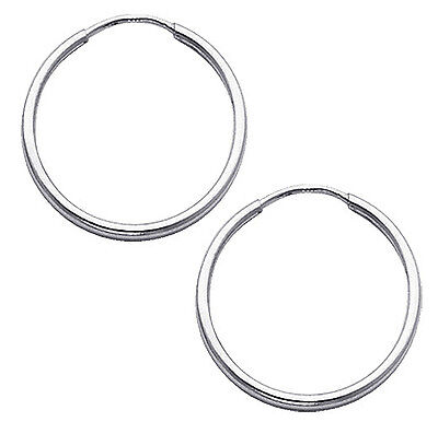 14k White Gold 1.5mm Thickness High Polished Endless Small Hoop Earrings