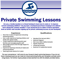 Private Swimming Lesson Instructor