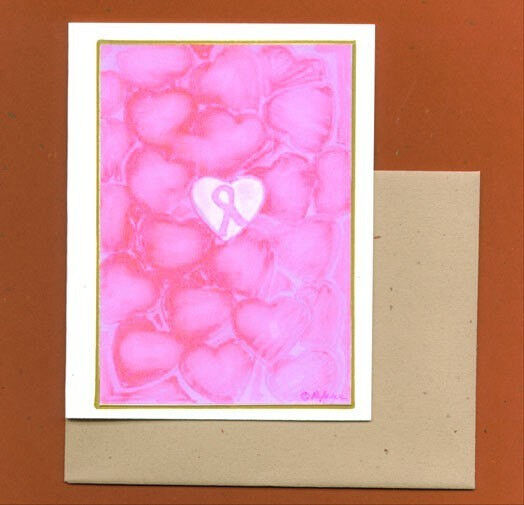 Set of Six Breast Cancer Awareness Note Cards Think Pink