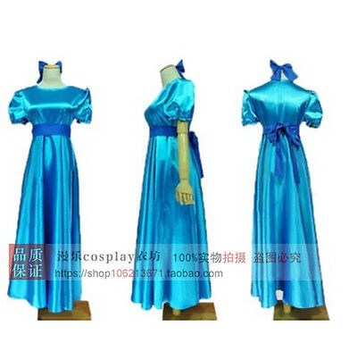 Peter Pan Wendy Darling Blue Cosplay Costume Dress With Headwear Plus Size](Plus Size Peter Pan Costume)