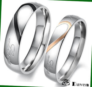 Heart-Shape-Matching-Titanium-Steel-Promise-Ring-Couple-Wedding-Bands-Many-Sizes