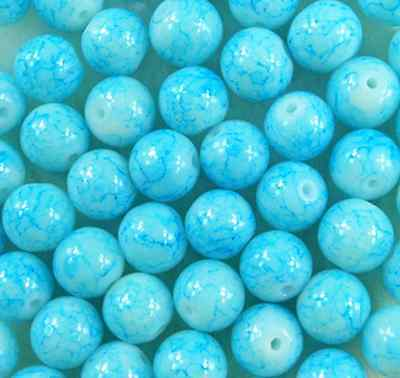 50Pcs 8mm Light Blue Lampwork Round Glass Spacer Loose Beads