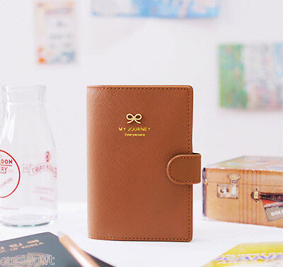 Ribbon Passport Case Cover Ticket Card Holder Travel Mini Wallet Authentic Pouch Chocolate