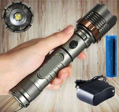 Tactical LED Flashlight 90000LM Rechargeable Hiking T6 Torch+18650 Batt+Charger