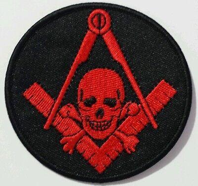 Freemason Masonic Black and Red with skull Iron on Patch