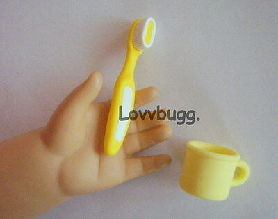 "Lovvbugg Yellow Toothbrush Set  Accessory for 18"" American Girl Doll Accessory"