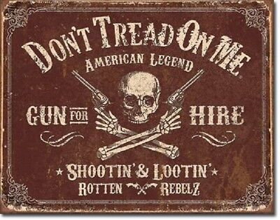 Don't Tread On Me American Flag Gun Hire Military Garage Shop Wall Decor Sign