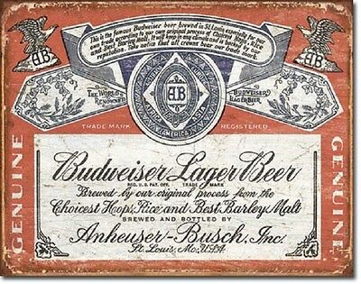 Budweiser Retro Label Bud Beer Weathered Wall Bar Pub Decor Metal Tin Sign New