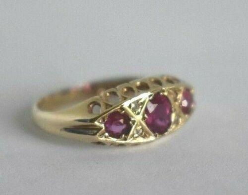 Vintage .375 English Ruby Diamond 10K Yellow Gold Size 6 1/2 Victorian Band Ring