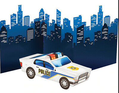 Car Themed Birthday Party (POLICE themed Happy Birthday party TABLE CENTERPIECE squad car city)