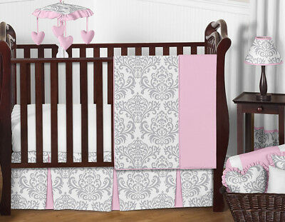 Boutique Pink Grey White Damask Bumperless Cute Baby Girl Crib Room Bedding Set