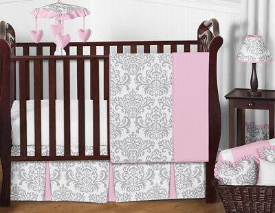 Boutique Pink Grey White Damask Bumperless Cute Baby Girl Crib Room Bedding Set ()