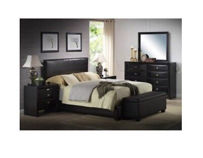 Bed Rails Queen Bed - Ireland Queen Faux Leather Bed, Black Headboard Footboard Rails *FREE SHIPPING*