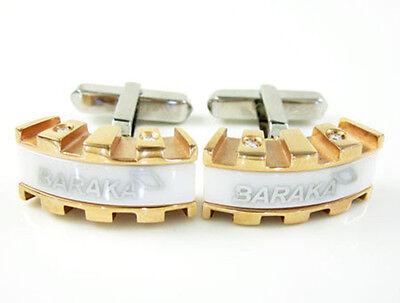 Mens 18K White Rose Gold Baraka White Ceramic Italy Shirt Diamond Cuff Links ()