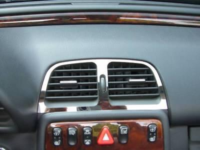 D Mercedes W208 CLK Chrom Blende für Lüftungsschacht Mitte - Edelstahl poliert