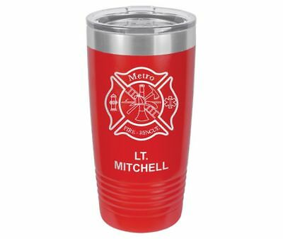 Personalized Engraved // Firefighter // Maltese Cross // Travel Tumbler // (Engraved Maltese)