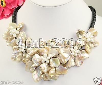 Hand Weave Natural White Freshwater Pearl MOP Shell 5 Flowers Bib Necklace 18