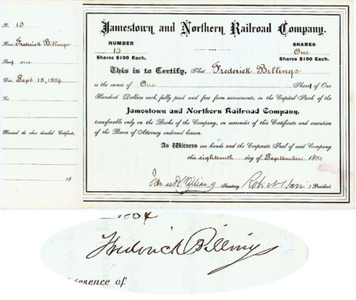 Rare Stock Issued to and Signed by Frederick Billings