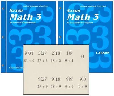 Saxon Math 3 Student Workbooks   Fact Cards Set Homeschool 1St Edition 3Rd Grade