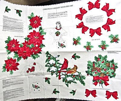 Holiday Christmas Greenery Wearable Art,Cut & Sew Applique Craft Panel,Cranston