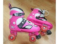 Pink and White Quad Roller Skates - Hardly Used Size 3 1/2 - 6