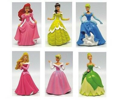 6pc Disney Princess Tiana Cinderella Playset 6 Figure Cake Topper Toy Doll Set Disney Princess Cake Topper