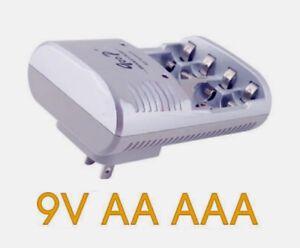 Chargeur de Batteries Automatique pour AA AAA et 9V Plug US VVV