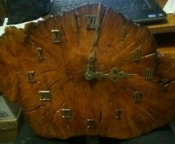 Vintage Lacquered Wood Wall Clock Slab Wooden Mid Century