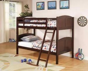 Brand new hardwood Solids Constructed Twin over Twin bunkbed