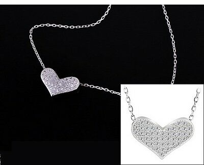 Sterling Silver Cz Micro Pave Heart Slide Pendant Necklace 18  Chain Gift Box A6