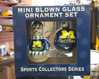 NCAA Michigan Wolverines Snowman and Ball 2pc Ornament Set