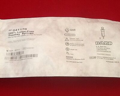 Lot Of 2 New Bard Toomey Syringes 70cc Latex Free Cath Tip Luer 041170