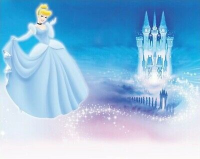 7x5ft Cinderella Princess Blue Palace Castle Spark birthday  backdrop Background - Princess Background