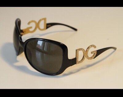 Dolce & Gabbana D&G Sonnenbrille schwarz gold Glitzer Strass Steine