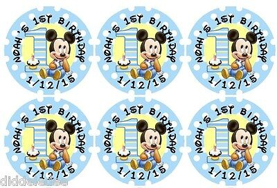 30 Mickey Mouse 1st First Birthday Stickers Lollipop Labels Party Favors 1.5 in