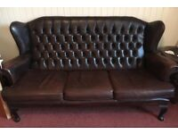 Genuine Chesterfield high back winged sofa