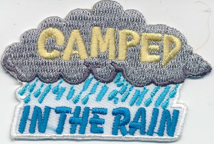 Girl Boy Cub CAMPED IN THE RAIN raining Fun Patches Crests Badges SCOUT GUIDE