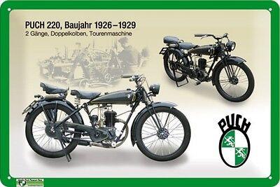 Blechschild Puch 220 Baujahr 1926 - 1929 - 20 x 30 cm - mit Motivprägung
