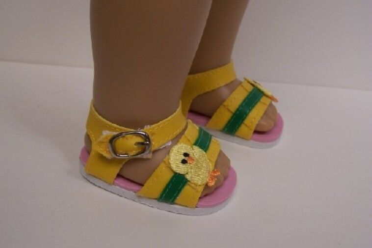 "Baby CHICK Yellow-Green Stripe Sandals Doll Shoes For 18"" American Girl (Debs) 1"